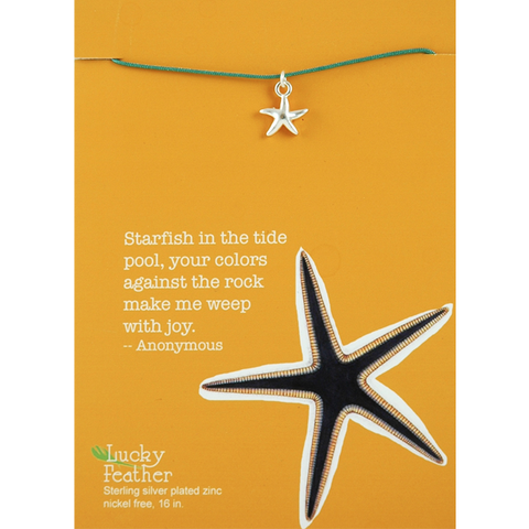 Lucky Feather Aquarium Necklace Silver - Starfish