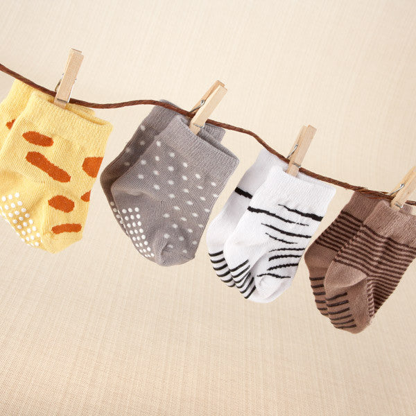 "Baby Aspen ""Sock Safari"" Four-Pair Animal-Themed Sock Set"