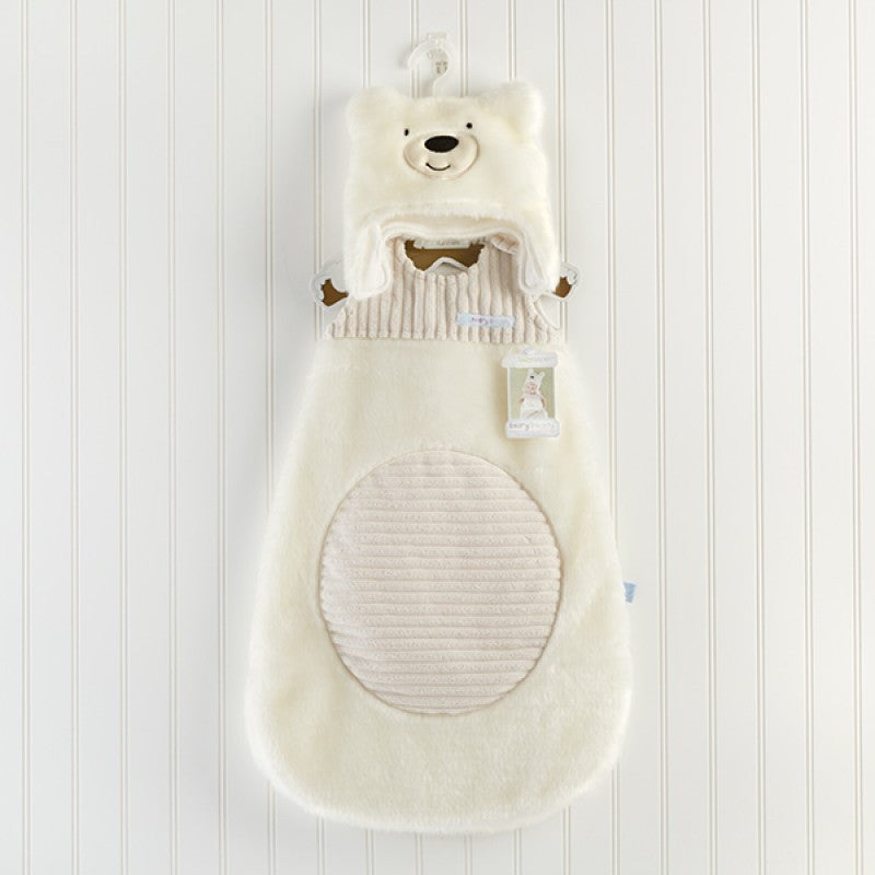 "Baby Aspen ""Beary Snuggly"" Luxe Polar Bear Snuggle Sack and Hat"