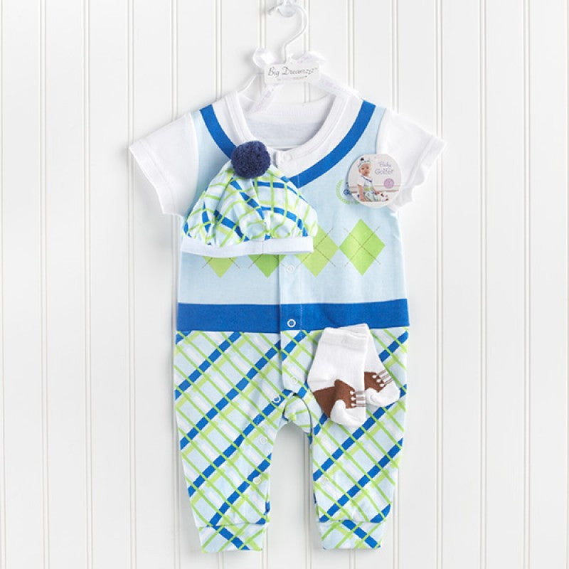 "Baby Aspen ""Big Dreamzzz"" Baby Boy Golfer Three-Piece Layette Set"