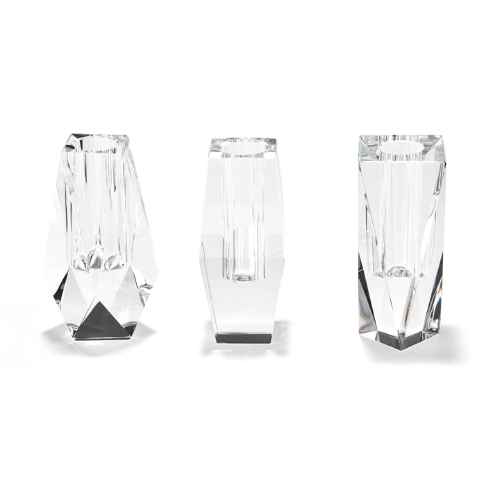 Tozai Home Faceted Bud Vases Assorted 3 Designs Crystal Glass