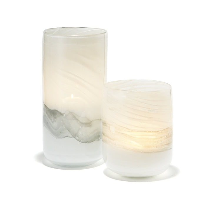 Tozai Home Great Waves Set of 2 White and Grey Candleholders/Vases