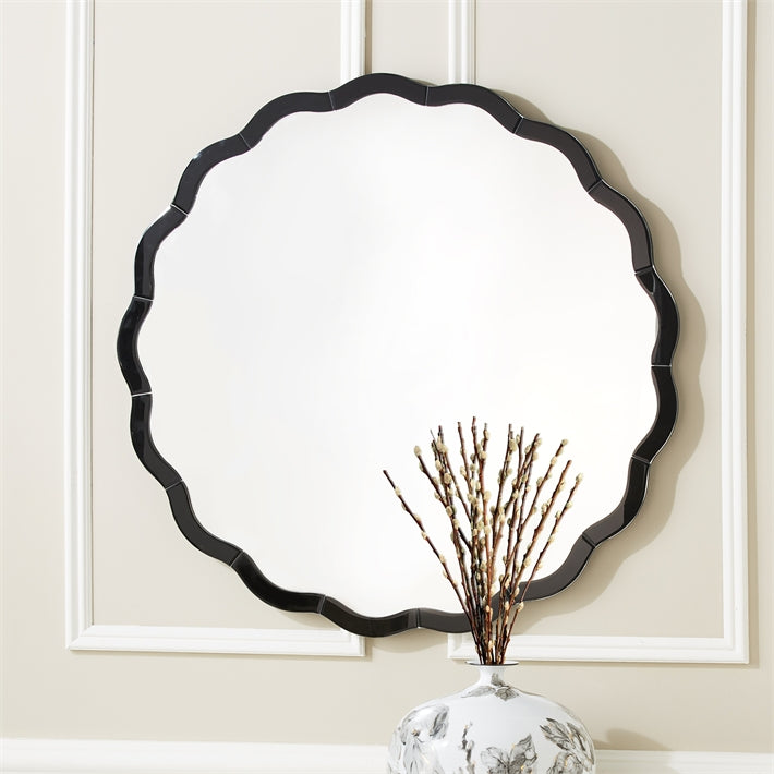 Tozai Home Black Scallop Wall Mirror