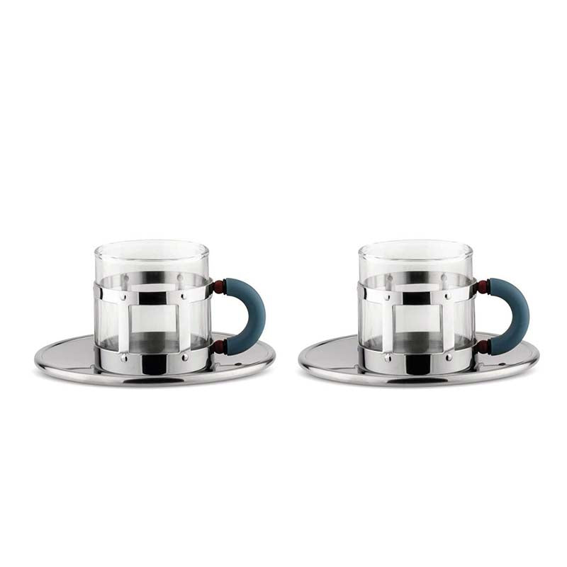 "Alessi ""MGDT"" Mocha Cups with Saucers (Set of 2)"