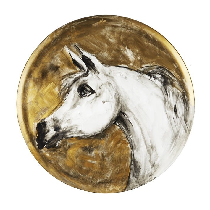 Tozai Home White Horse Hand-Painted Wall Art Plaque