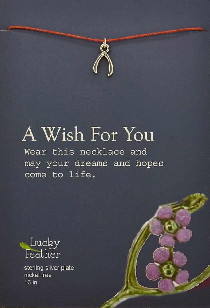 Lucky Feather Pretty Moon Necklace Silver - Wish Bone