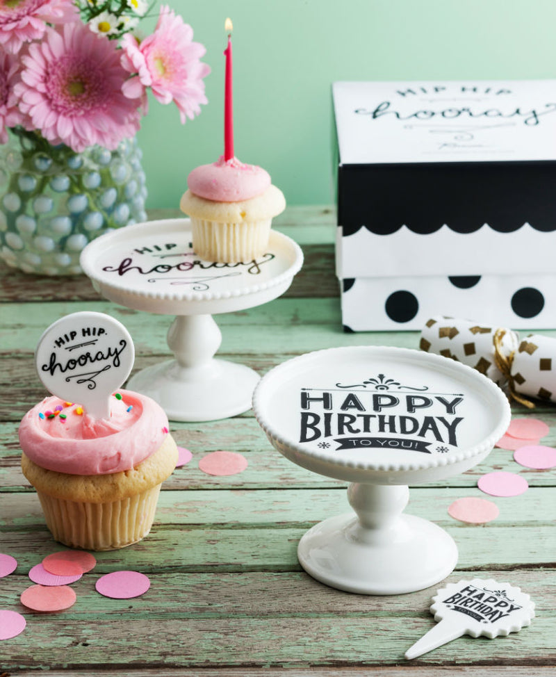 Rosanna Petite Party Mini Pedestal & Dessert Pick Happy Birthday