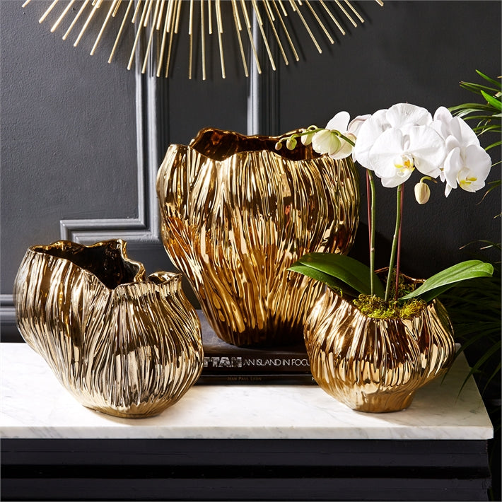 Tozai Home Piriform Set of 3 Gold Plated Vases