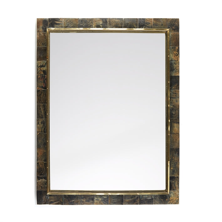 Tozai Home Jackson Peak Horn Wall Mirror with Brass Trim