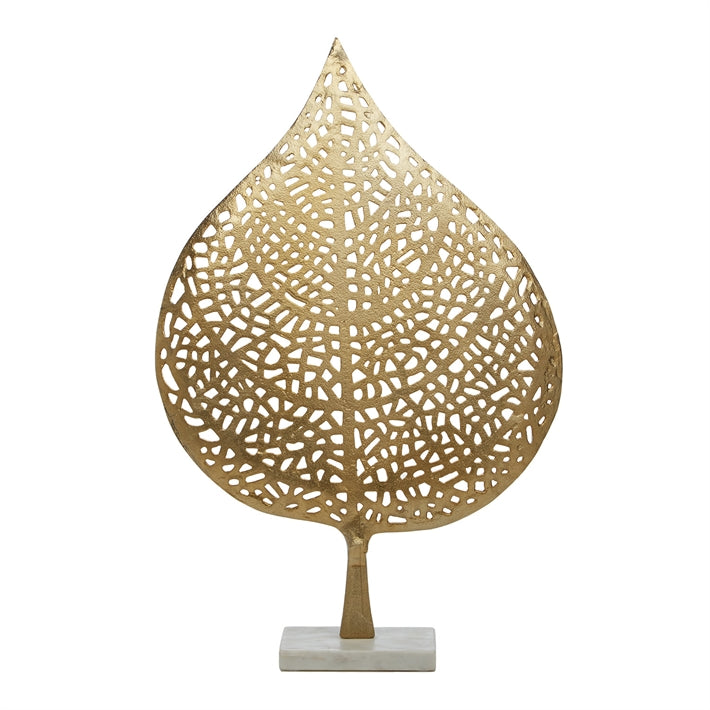 Tozai Home Golden Leaf Sculpture on Marble Base