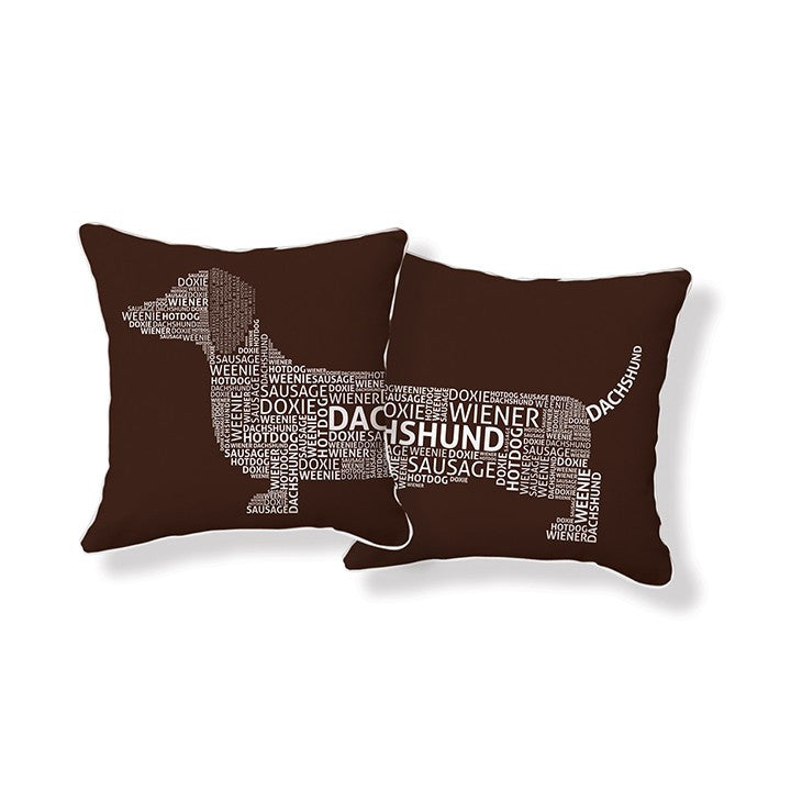 Naked Décor Dachshund Typography Pillow