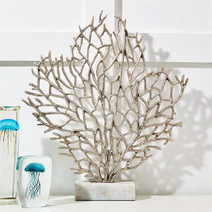 Tozai Home Silver Coral Sculpture Marble Stand