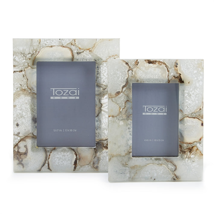 Tozai Home Natural Agate Set of 2 Photo Frames