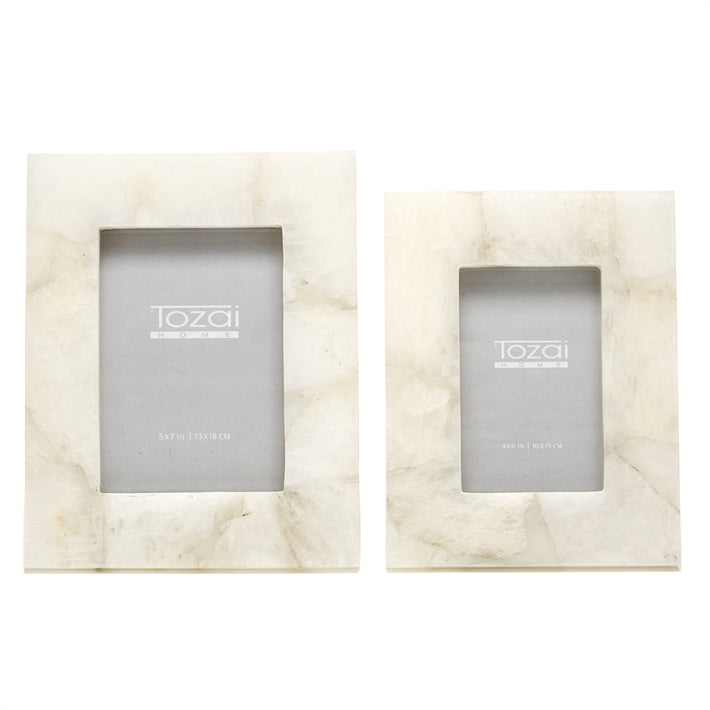 Tozai Home White Quartz Set of 2 Photo Frames in Gift Box