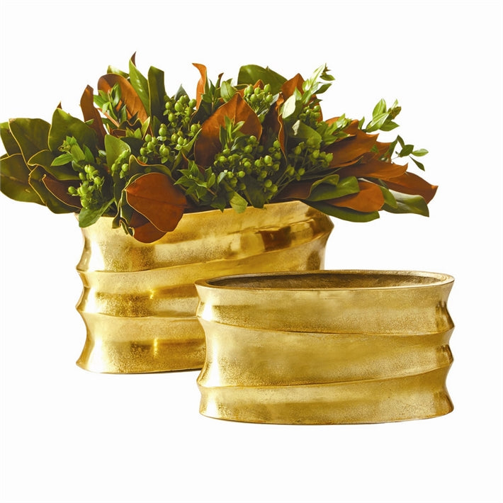 Tozai Home Golden Wave Set of 2 Planters