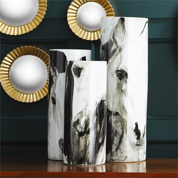 Tozai Home White Horses Set of 3 Tall Cylinder Vases