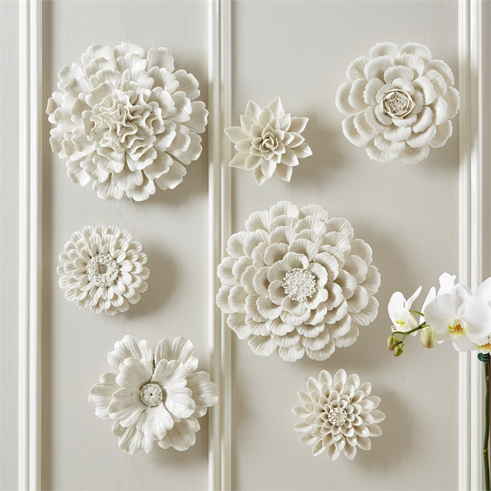 Tozai Home White Porcelain Garden Set of 7 Flower Wall Sculptures
