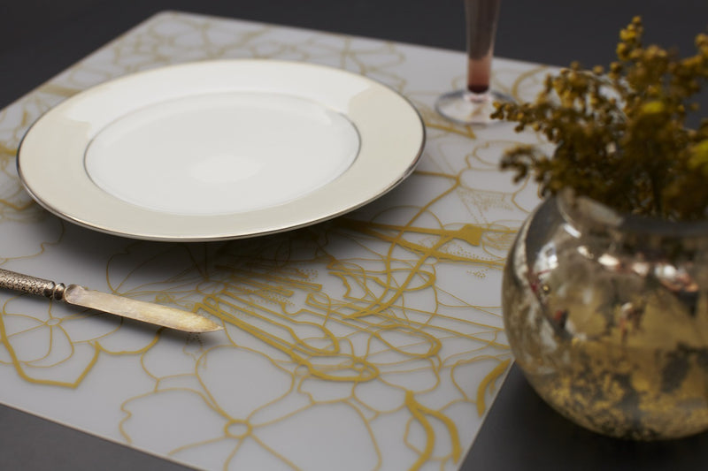 "Modern-Twist ""Floral-Gold"" Placemat"