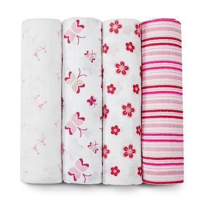Aden + Anais Classic Swaddle Blankets 4-Pack - Princess Posie