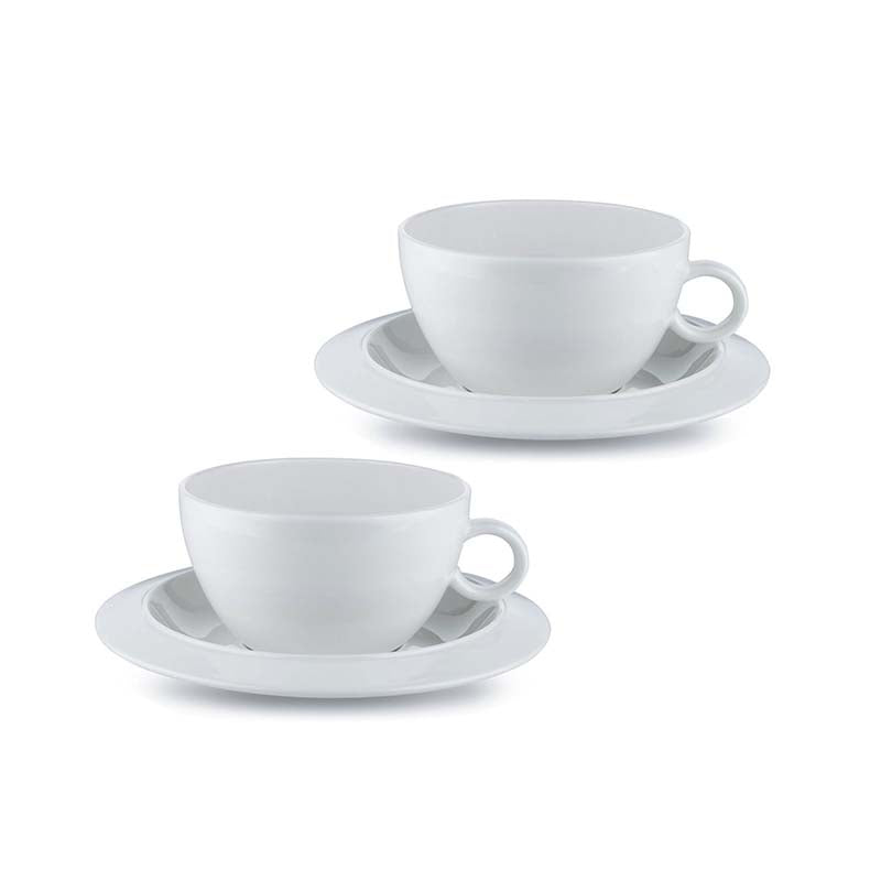 "Alessi ""Bavero"" Tea Cups with Saucers (Set of 2)"
