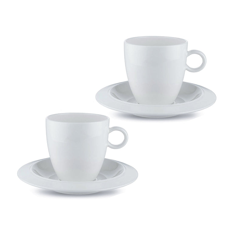 "Alessi ""Bavero"" Coffee Cups with Saucers (Set of 2)"