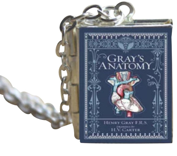 "Gray's Anatomy Book Cover Locket Jewelry, 20"" Silver Chain, Holds 2 Pictures"