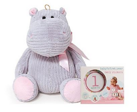 Hanna the Hippo Stuffed Animal Soft Gray Pink Plush w Belly Milestone Stickers Gift Set