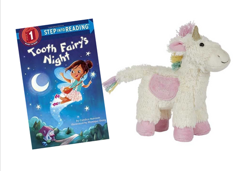Unicorn Stuffed Animal Tooth Fairy Pillow for Girls by Maison Chic with Tooth Fairy's Night Book Gift Set