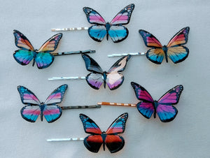 Large pride flag butterfly bobby pin