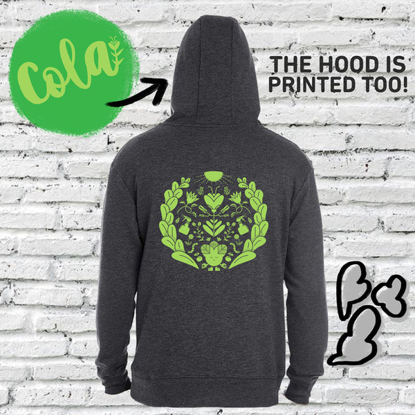 This is our hoodie hosting the green character Cola. Cola is the best grower of the Subtle Trees gang. This hoodie is subtly cannabis themed.