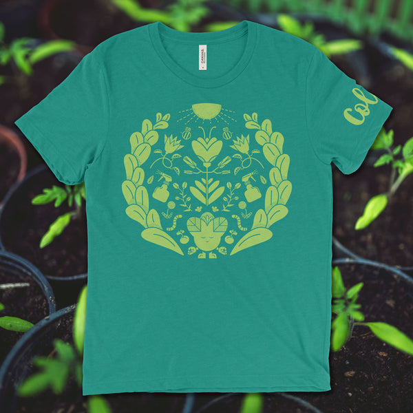 This is our 100% cotton green t-shirt hosting the character Cola. Cola is the best grower of the Subtle Trees gang. This shirt is subtly cannabis themed.
