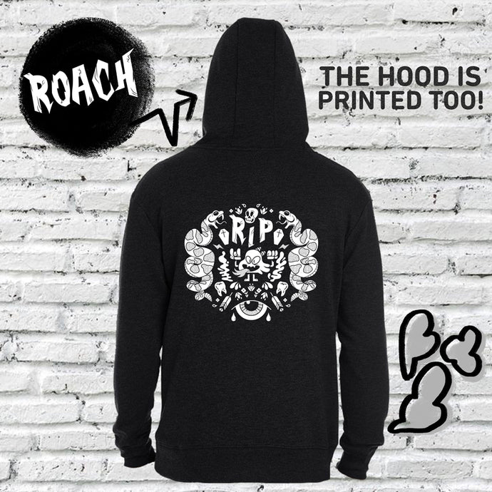 This is our hoodie hosting our character Roach. Roach is an intense little spitfire and always ready to burn. This hoodie is subtly cannabis themed.