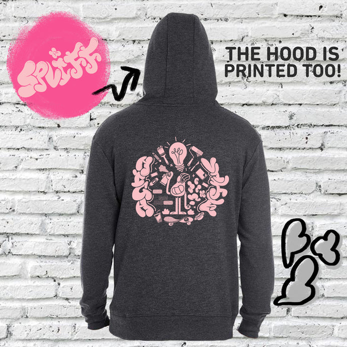 This is our hoodie hosting the pink character Spliff. Spliff is the most imaginative of the Subtle Trees gang. This hoodie is subtly cannabis themed.