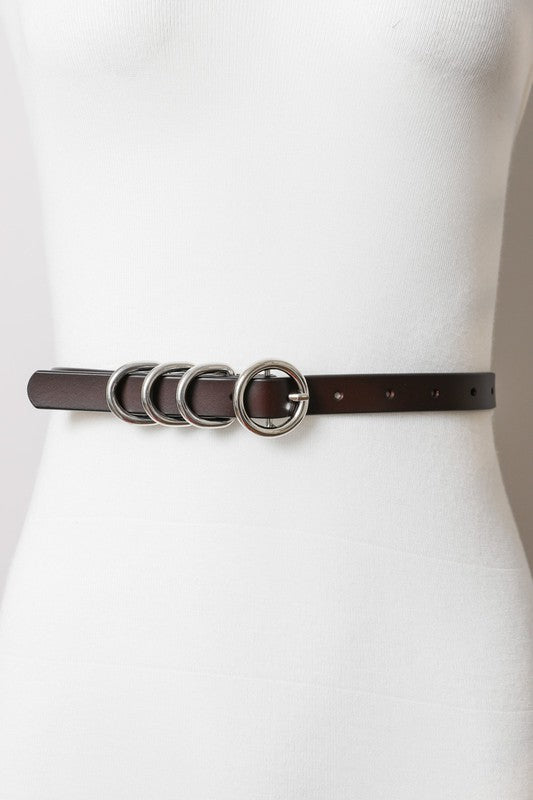 SKINNY WAIST BELT WITH FOUR RINGS