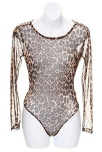 Load image into Gallery viewer, SHEER LEOPARD PRINT LONG SLEEVE BODY SUIT