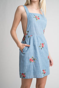 FLOWER EMBROIDERY DRESS CHAMBRAY