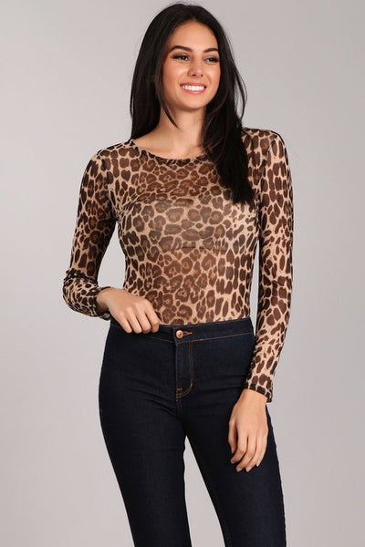 SHEER LEOPARD PRINT LONG SLEEVE BODY SUIT