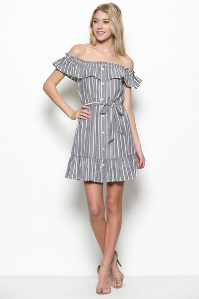 STRIPED OTS MINI DRESS