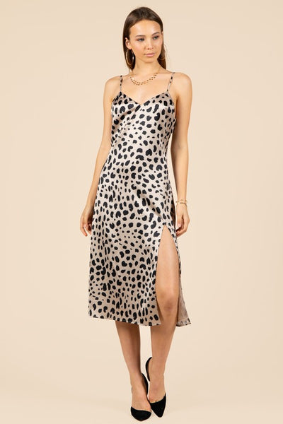 SPOTTED SIP DRESS W/ SIDE SLIT
