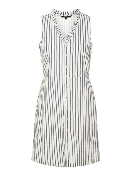 LINEN-BLEND STRIPED DRESS