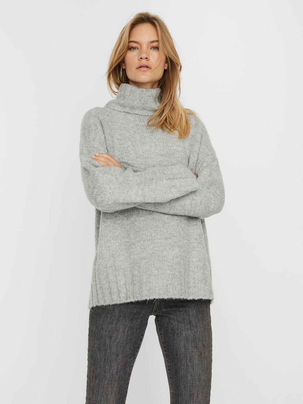 BERKO TURTLE NECK KNIT / LIGHT GREY