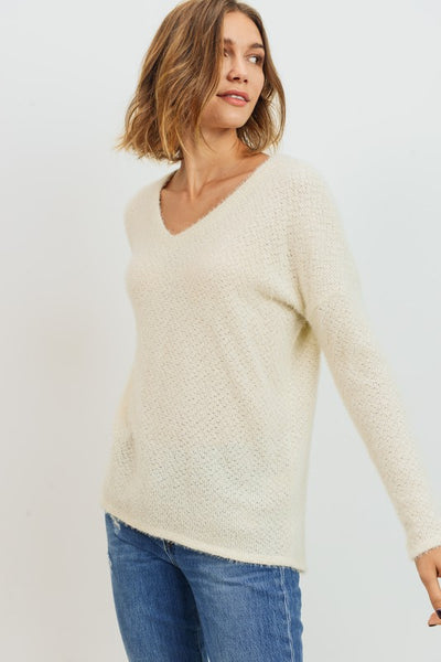 BRUSHED EYELASH KNIT TOP
