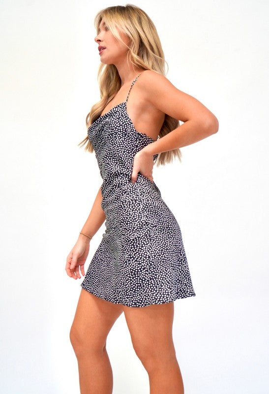 COWL NECK POLKA DOT MINI DRESS