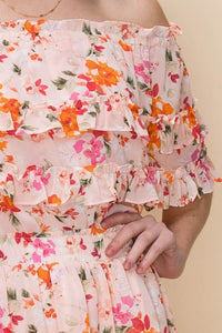 FLORAL OFF THE SHOULDER RUFFLE DRESS