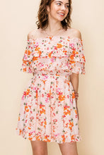 Load image into Gallery viewer, FLORAL OFF THE SHOULDER RUFFLE DRESS