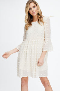BELL SLEEVE POM POM DRESS