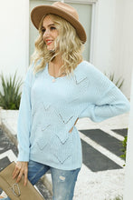 Load image into Gallery viewer, DREAMY SCALLOP EYELET KNITTED TOP // LIGHT BLUE