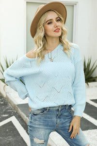 DREAMY SCALLOP EYELET KNITTED TOP // LIGHT BLUE