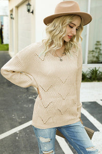 DREAMY SCALLOP EYELET KNITTED TOP // KHAKI