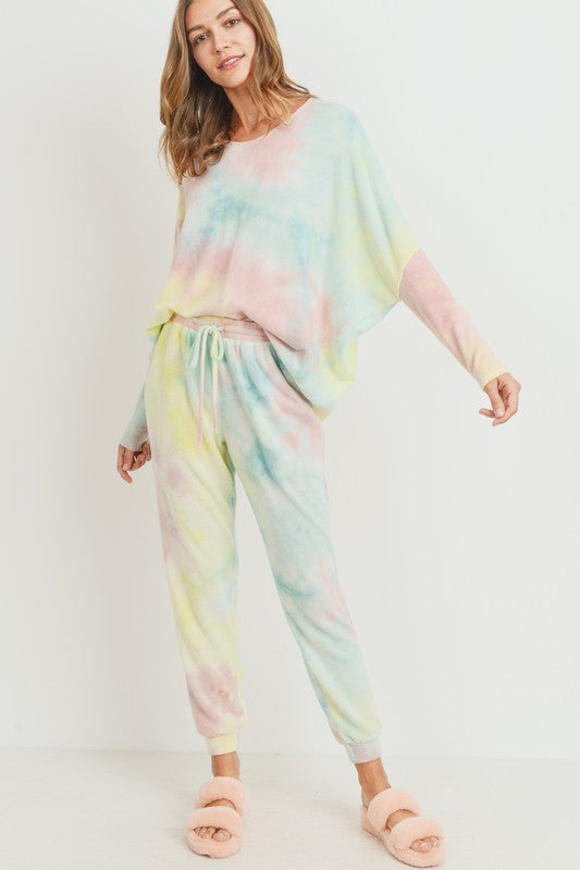 CASUAL RAINBOW TIE DYE BRUSHED KNIT TOP